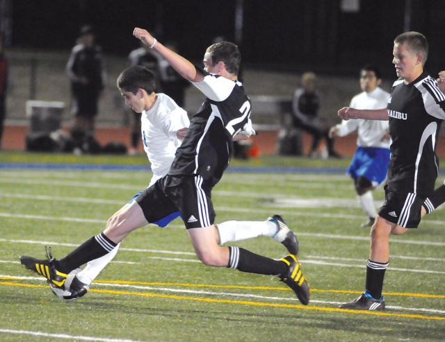 Fillmore fights for the ball against Malibu.