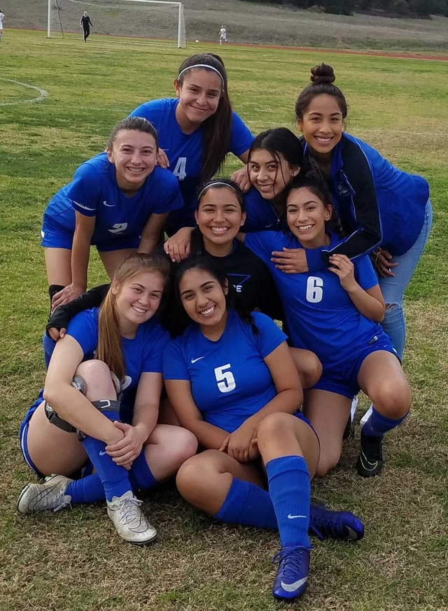 (Above) The Fillmore Girls Soccer Frosh Team as they smile for a picture after defeating Carpinteria 4 – 0 this past Monday. Photos courtesy Coach Omero Martinez. Saturday, January 27th Fillmore Flashes traveled to Nordhoff. Fillmore's JV defeated Nordoff 2 – 0. Flashes Varsity fell short to Nordhoff 1 -0 in overtime. Monday, January 29th Fillmore hosted Carpinteria. Flashes Frosh came out strong and set the tone for the rest of the team's. They dominated with a 4 - 0 victory. Goals were scored by Nicole Gonzalez, Yanely Lara and Vanessa Avila. JV defeated Carpinteria 2 – 0. Goals were scored by Luita Bravo. Flashes Varsity's Ana Covarrubias had 2 goals 1 assist. Valerie Hernandez had 1 goal 2 assist. Andrea Marruffo and Lupita Ruvalcaba had one goal each.  Kayla Martinez, Yareli Cobian, Emily Garibay and Sophia Garibay played well defensively. They only allowed 4 shots on goal. Tuesday, January 30th Flashes Varsity traveled to Villanova and won 10-2. Goals were scored by Ana Covarrubias, Anahi Andrade, Valerie Hernandez, Andrea Marruffo (2) Lupita Bravo (2), Tori Villegas, Lupita, Cruz and Susie Garcia. Come out and cheer on the Lady Flashes on Wednesday 2-7-18 as they take on Cate. JV begins 4:30pm, Varsity 6:00pm. Submitted By Coach Omero Martinez.