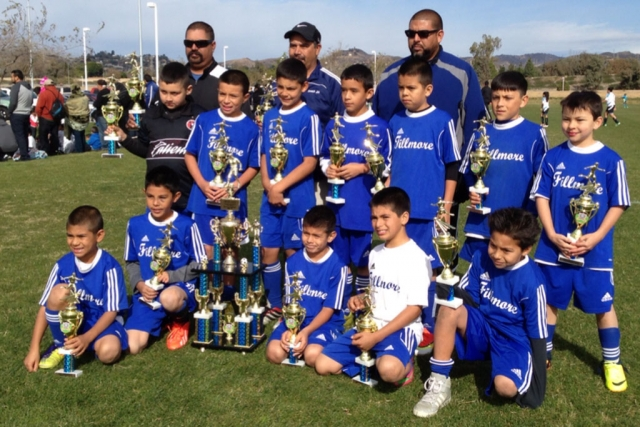 Fillmore took second place in the Oxnard Youth Soccer League. They played against Leon from Oxnard in the finals and won 2-0. (l-r) (bottom) Mathew, Sebastina, Deigo, Jathan, Alfredo. (top) Ivan, Julio, Armando, Fernando, Angel, Dante, Adrian. Coaches Damian, Joe, Javi.