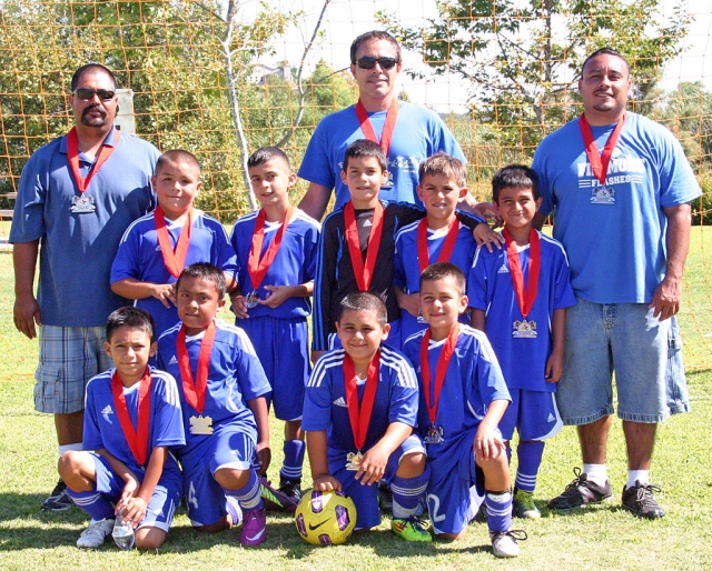 Front row (l-r) Adrian Martinez, Javier Mendez, Damian Magana, Anthony Magana. Second row Jesus Calderon, Sergio Becerra, Damon Villa, Odin Rosten and Mike Garibay. Coaches Damian Magana, Frank Garibay and Omero Martinez.