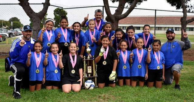 California United 11-U Girls defeated the Oxnard Waves in the Championship games this past weekend. Pictured are the Players left to right on top: Lexi Pina, Jadon Rodriguez, Isabel Hernandez, Brooke Nunez, Marlene Gonzales, Fatima Alvarado, Athena Sanchez, Jessica Rodriguez. Bottom row: Miley Tello, Kari Terrazas, Mikayla Mckenzie, Gaby Martinez, Tori Pina, Ashley Hernandez, Kim Manriquez. Coaches left to right: Junior Lomeli, Cipriano Martinez and Tony Hernandez. Photos Courtesy Evelia Hernandez.