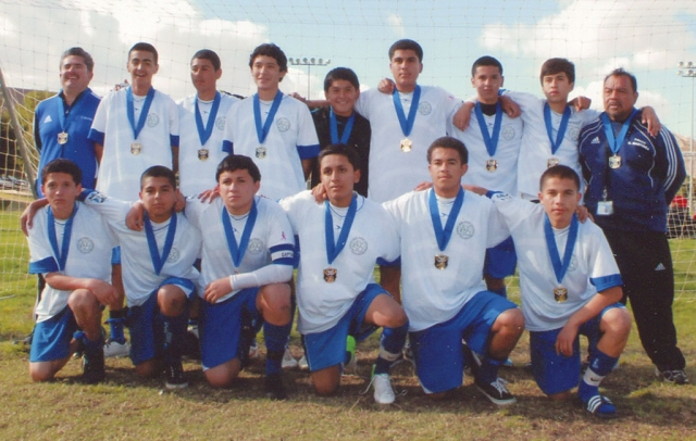 The Fillmore United U16 boys bring home the Section AYSO League Cup Championship. The boys played in Bakersfield this past weekend and beat Santa Barbara 1-0 for the Championship, and in March of 2013 will be playing in the state games. Congratulations to the boys. Pictured top row (l-r): Assistant Coach Cipriano Martinez, Juan, Diego, Miguel Martinez, Emilio Martinez, Juan Garcia, Issac Torres, Anthony Castaneda, and Coach Gonzalo Martinez. Bottom row (l-r) Chava Zepeda, Jose Lopez, JR Martinez, Govani Arellano, Leonel, and Miguel.
