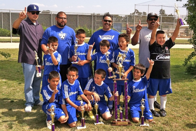 U-8 boys soccer team from Fillmore went undefeated 12-0 for Oxnard primer soccer league. They took Frist place on Saturday score 7-5. Players names not in any order, Angel Castorena, Ivan Becerra, Alfredo Cardenas, Diego Alcaraz, Armando Manriqes, Mathew Magana, Jathan Magana, Adrian Vasquez, Julio Negrete. Coaches Joe & Damian Magana.