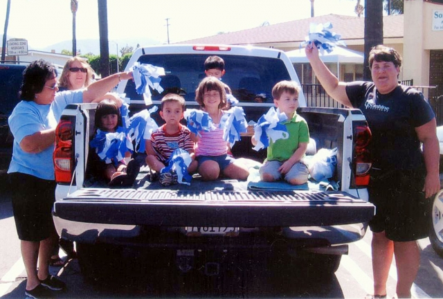 Pictured above are teachers: Sarah Kemp, Mrs. Cathy Nunes, and Mrs Rosie Cervantez. On Friday, September 26 the Sonshine Preschool after school care enjoyed the 2008 Homecoming Parade.