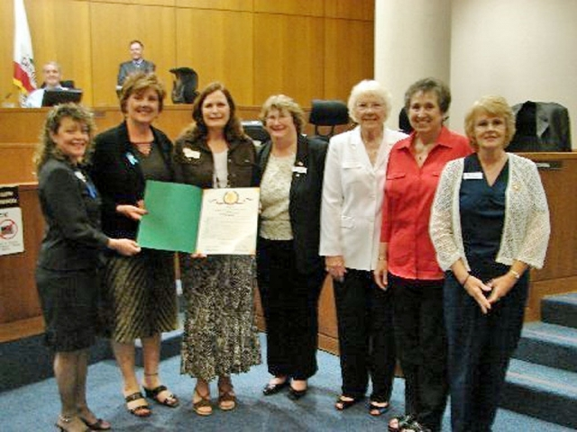 Fillmore Soroptimist boardmembers received a Board of Supervisors' proclamation on the local organization's 50th Anniversary. The commendation was presented by Supervisor Kathy Long, District 3, at the Ventura County Board of Supervisors meeting, May 20, 2008. Pictured are (l-r) Oralia Herrera, Incoming President 2008-09, Supervisor Long, Terri Aguirre, current president, Kathleen Briggs, Jeri Schleimer, Betty Carpenter, and Kathi Marsden.