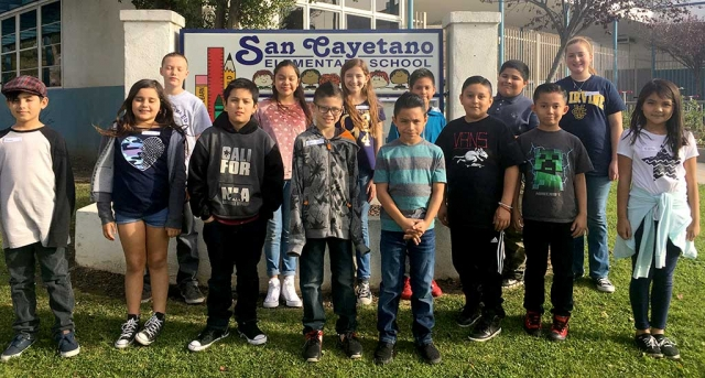 Pictured above are San Cayetano Elementary 3rd - 5th grade students who participated in the this year's school Spelling Bee which took place Monday, January 29th. 3rd grade students: Saul Fraga-Sandoval, Kamila Maldonado, Paul Pacheco, Ricardo Quilo, Sienna Altamirano, Luis Navarro. 4th grade students: Giovanni Alcala, Jose Alcarez, Emma Victor, Jesse Cavazos,  Jirhet Cruz, Jonas Ramirez. 5th grade students: Nadia Palazuelos, Diana Santa Rosa, Presley McLain, Nolan McKeen.