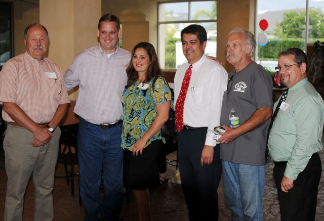 "Left, Senator Tony Strickland, Candidate for Congress in California's 26th Congressional District, came to Fillmore for a ""Meet-and-Greet"" hosted by Councilman Eduardo Gonzalez, on Thursday, July 12th at El Pescador. Strickland is pictured second from left, with (l-r) Mario de la Piedra and Gonzalez third from right."