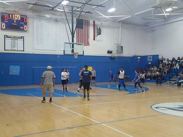 Friday March 31st Fillmore High hosted a Students vs. Staff Basketball Game. Students won 76-74.