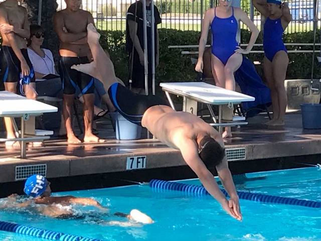 Flashes swimmer diving in to get the relay started at this past week's relay.