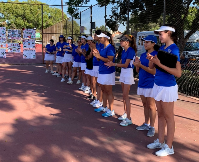 Pictured is the Fillmore Flashes Girl's tennis team as they line up to get ready for their match against long time rival Santa Paula. Photo courtesy Coach Lolita Bowman.