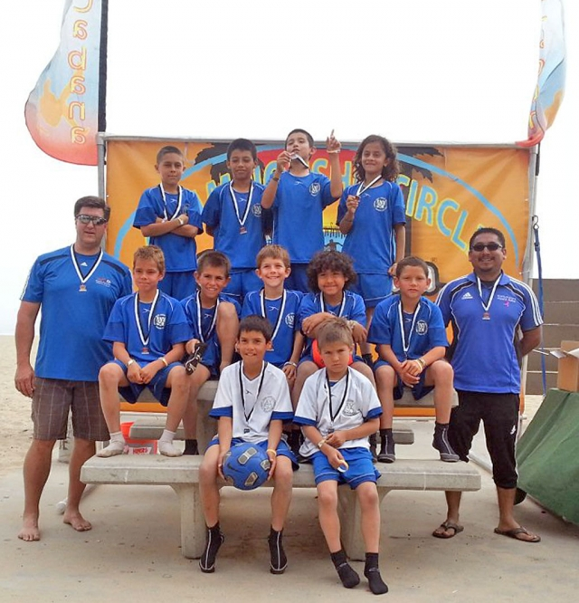 Our local Division U10 AYSO All-star Tournament team participated in Copa Cabana's Annual Beach Soccer Tournament this past weekend. They took second place. Congratulations for their hard work. They played four games in two days in the sand. (l-r) (front row) Damon Villa, Ull Rosten, (middle row) Asst. Coach Darren Rosten, David Goyette, Odin Rosten, Caden Lindsay, Matthew Munoz, Chip Alamillo, Coach Arnold Munoz, (last row) Luke Rangel, Adrian Martinez, Fabian Saldana, and Joey Esparza.