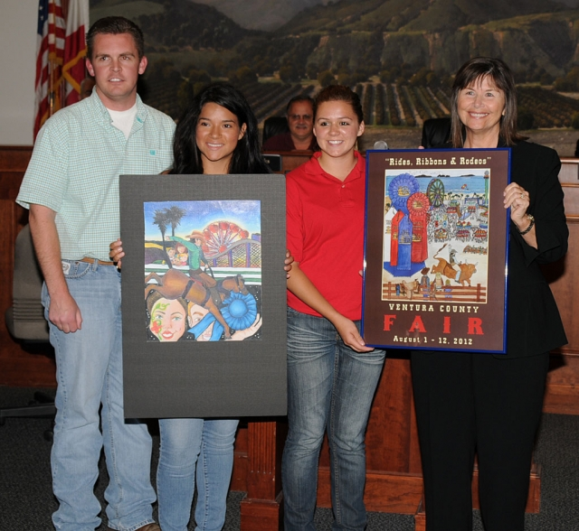 "Mayor Gayle Washburn is pictured with the 2012 Ventura County Fair Poster(s) by Ventura County Fair representatives Chris Garmon, Alexus Galassi of the Ventura County Junior Fair Board and Amanda Vassaur, of Fillmore, who was the second place winner in the Ventura County Fair Poster Contest. This year's Fair theme is; ""Rides, Ribbons and Rodeos"" and the colorful winning poster was submitted by the First Place Winner Sam Coultas of Ventura. The Ventura County Fair begins August 1st and runs through August 12th."