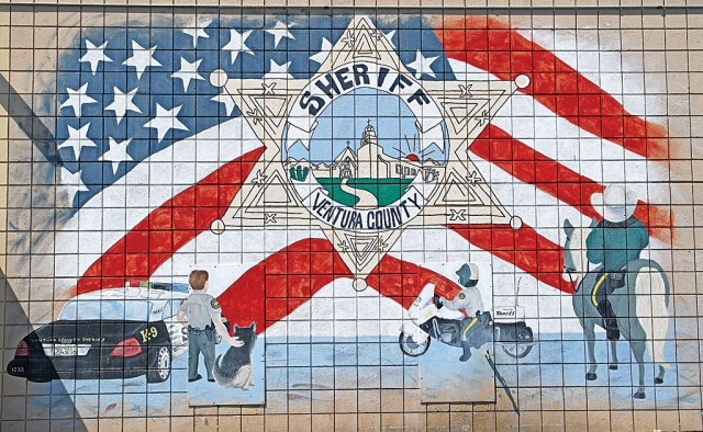 Ventura County Sheriff's Department mural on the back wall of the Fillmore Police Station. The mural was painted by Omar Becerra.