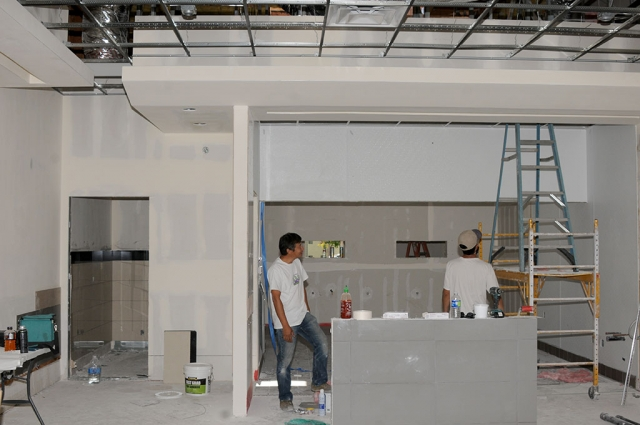 Workers were seen inside the Waba Grill which is gearing up to open at the end of September. Tofu veggie bowl anyone?