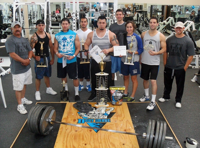 (l-r) The participants of the weightlifting competition held last Saturday, June 23. Tony Hernandez (Body Image owner), Jose Perez, Juan Chavez, Domonique Jasso, Chepe Lira (Overall Grand Champion), Jose Herrera, Beka Herrera, Miguel Herrera, and Marcos Zuniga (Head Judge).