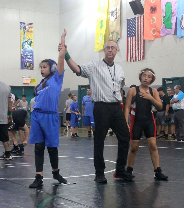 Last week the Fillmore Middle School Bulldogs Wrestling Team competed at Sinaloa Middle School in Simi Valley. The results are as follows: Devin Camacho 0-1, Erik Castaneda 0-1, Jonathan Patino 2-0 (1 pin), James Zellmer 0-1, Delilah Cervantez 0-1, Natalia Herrera 1-0 (pin), Amalia Nolan 1-0, Emma Torres 1-0 (pin). The team competed against athletes representing Balboa, Isbell, and Sinaloa middle schools. [Submitted by Coach Michael Torres.]