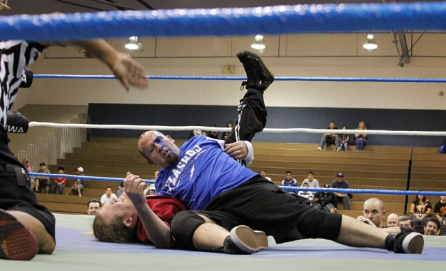 Joey Golson of Fillmore pinned down his opponent during the main event at the Fillmore Little League Wrestling fundraiser held Saturday, November 6, at the Middle School. The event was enjoyed by many.