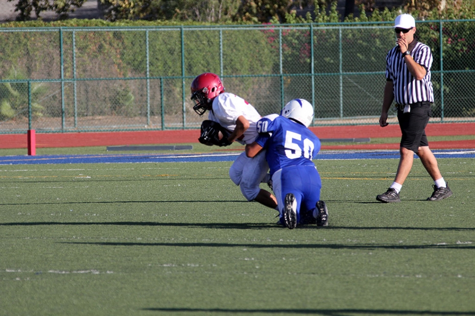 50 Mylo Lieghton makes a tackle for a loss
