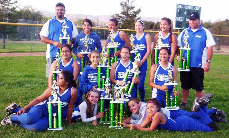 Top Row: Head Coach Mike Thompson, Cheyanne Tarango, Justine De La Rosa, Anyssa Cabral, Kayla Grove, Coach Jason Faulkner. Middle Row: Lilly Duran, Kayleigh Thompson, Miranda Faulkner, Sarah Lopez. Bottom Row: Niki Spencer, Macie Wokal, Serena Venegas, Brooke Pemintel. The girls played 3 games back to back and won it all against Ojai 14-1.