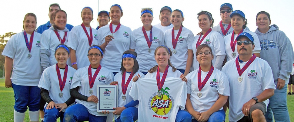 Left, 14U Fillmore Girls All Star team placed 2nd in So Cal ASA Western District state qualifier on June 21st, 2009. The 14 player team played 6 games with 2 losses to come in as the finalist in the championship game vs. Antelope Valley Tournament highlights include home runs made by players: :Amber Magana/Pitcher, Reina Magana/Rt field , Kaylee Hinklin /2nd Base, Paula Laureano/Center field . Pitching was lead by starter pitcher Amber Magana who pitched 3 games on Saturday and 2 games on Sunday. Relief pitchers Chellie Arreguin and Deanna Magana came in to finish off the battle to advance the team to the Cal State Games in San Diego , July 17th 2009 . Pictured left: top row Amber Magana, Deseree Lagunas, Coach Manuel Magana, Tatiana Gonzales, Coach Bobby Cruz, Mary Ortix, Candace Stines, Coach Ron Mendez, Janessa Lopez, Amanda Vassaur, Coach Bill Cassaur, Marissa Vasquez. Bottom row: Paula Laureano, Karina Carillo, Deanna Magana, Kaylee Hinklin, Chelle Arreguin, Manager Ernie Ortiz, team mom Suzi Ortiz.