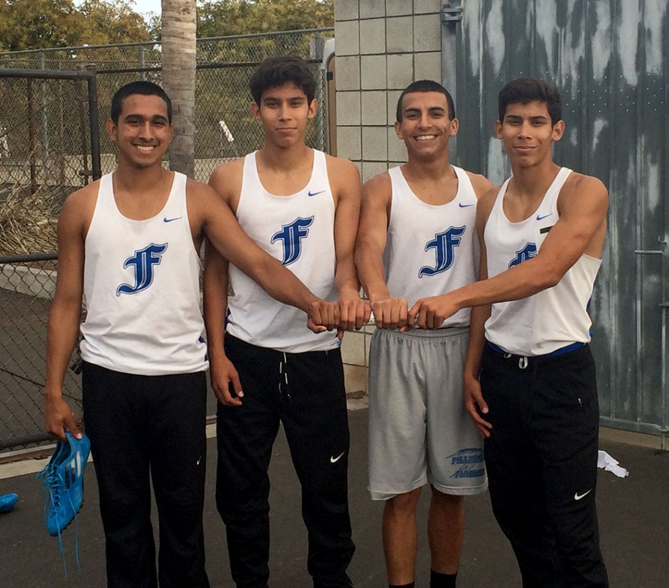 (l-r) Demitriouz Lozano, Dominick Gonzalez, Aaron Cornejo, and Damien Gonzalez. Not in photo are alternates Enrique Gutierrez and Saul Santa Rosa. The Boys 4x400m advance to the CIF Finals in Track and Field to take place this Saturday at Cerritos College. This past Saturday at CIF prelims the boys set a personal record with a time of 3:28.38 placing third overall. Way to go Flashes!
