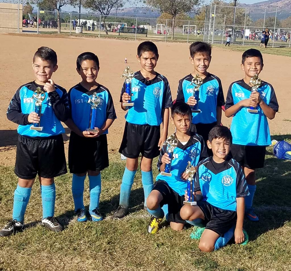 Congratulations to the Blue Tornado Sharks! Top row (l-r) Ryan king, Andrew Razo, Xavier Lara, Mauricio Ocegueda, Diego Tapia. Bottom row (l-r) Nathan Hernandez and Isaac Martinez. The team finished 2nd in the U10 Boys Division — this will qualify the Sharks for league playoffs. Playoffs will take place November 18th and 19th in Camarillo. Good luck boys! Submitted by Coach Omero Martinez.