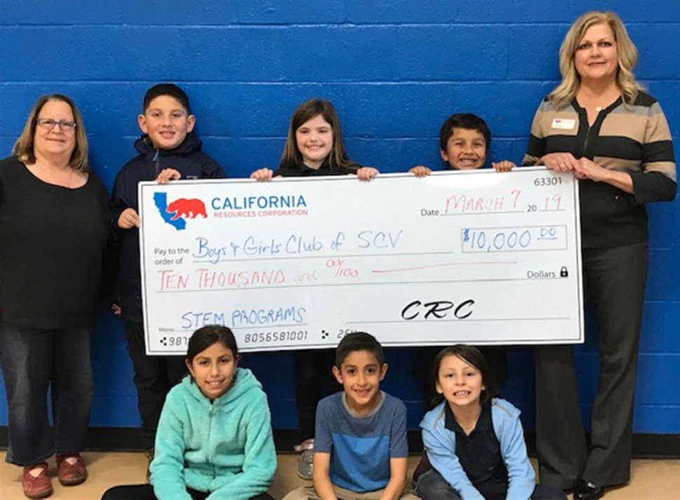 California Resources Corporation (CRC) is pleased to support the Boys & Girls Club of Santa Clara Valley (BGCSCV) with a $10,000 STEM grant. CRC has been a strong supporter of the BGCSCV for seven years and values the delivery of high quality STEM programs. CRC also participates in our annual Kids STEM Day. Pictured is CRC Public Affairs Manager and BGCSCV Board President, Amy Fonzo and BGCSCV CEO, Jan Marholin, with BGCSCV members. Thank you California Resources Corporation for investing in our youth. Photo courtesy Jenae Quintana.