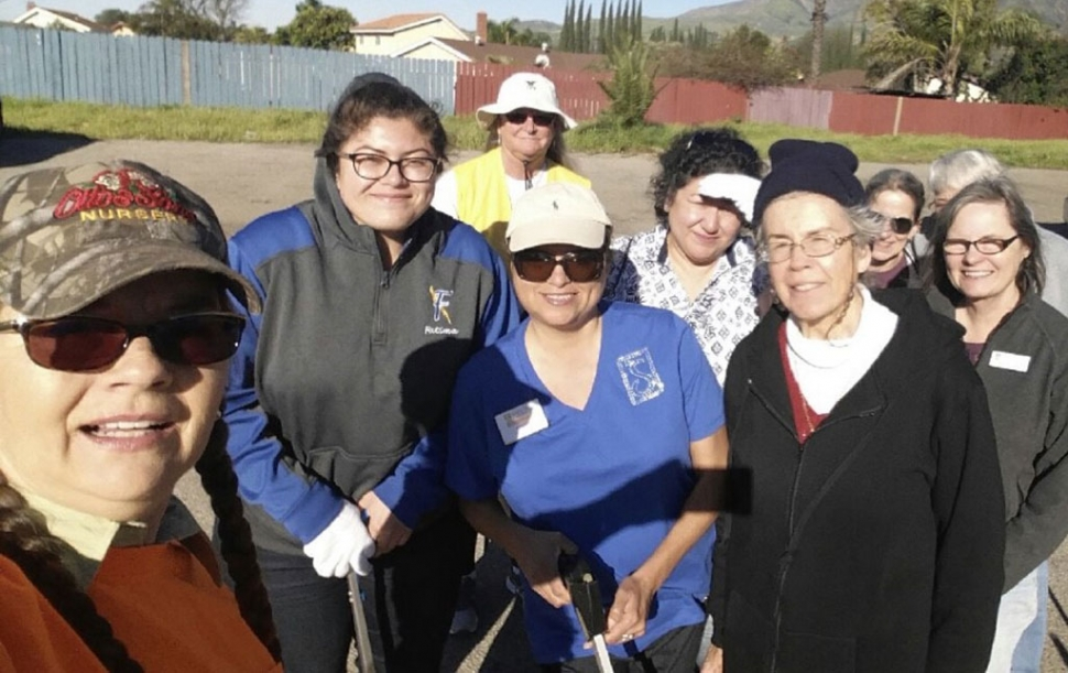 On Saturday, March 16th Fillmore Civic Pride held a Bike Path Clean Up to Celebrate the 100th Anniversary of the Fillmore Flower Show pictured is some of those who came out to help Front Row (l-r) Julie Latshaw, Fatima Bazurto, Ari Larson and Darlene Lorenz, Back Row(l-r) Cindy Blatt, Mrs. Bazurto, Cathy Krushell, Annette Ross and Sarah Hansen. Photo courtesy Ari Larson.