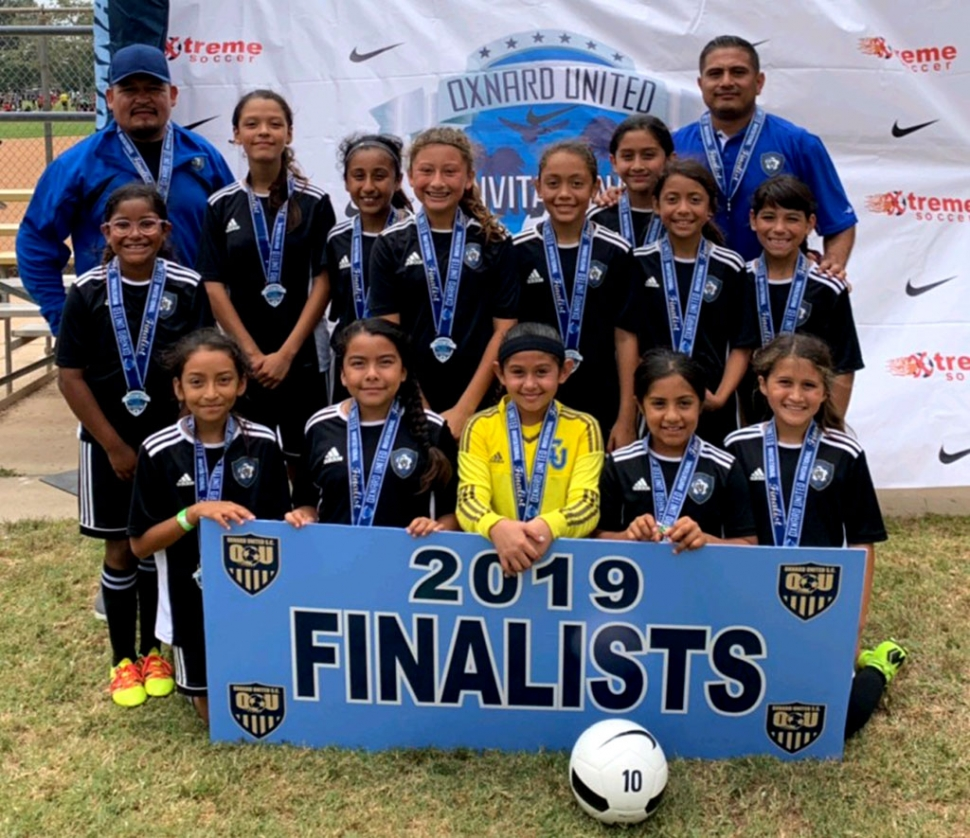 Pictured above is the California United FC 2008 Girls Soccer Team which finished as finalists in the Oxnard United Invitational this past week. Top Row left to right, Assistant Coach Aciano Mendez, Joelle Rodriguez, Lizbeth Mendez, Valerie Rubio, Jazleen Vaca, Victoria Piña, Alondra Leon, Head Coach David Vaca, Nathalia Orosco, Fiona Cabral Bottom Row Left to right Danna Castillo, Anel Castillo, Delila Ramirez, Sara Dias, and Leanna Villa. Not pictured Assistant Coach John Cabral.