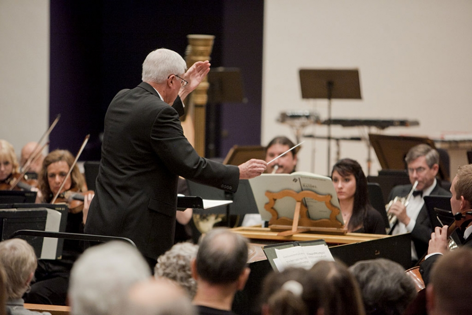Dan Geeting conducting the University Symphony during a Christmas Festival Concert.