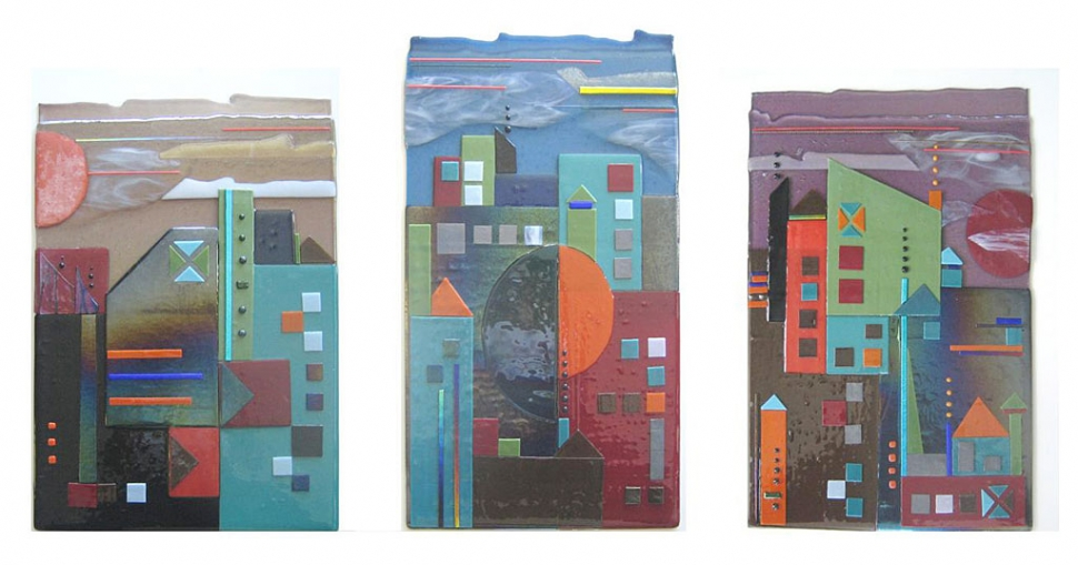 """Cityscape Triptych"", fused glass by Frances Elson"