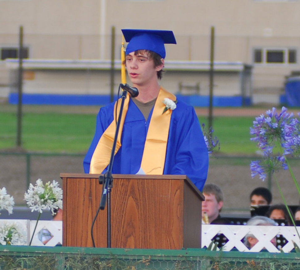 Valedictorian Shaun Stehly read a personal message to the crowd and his class entitled