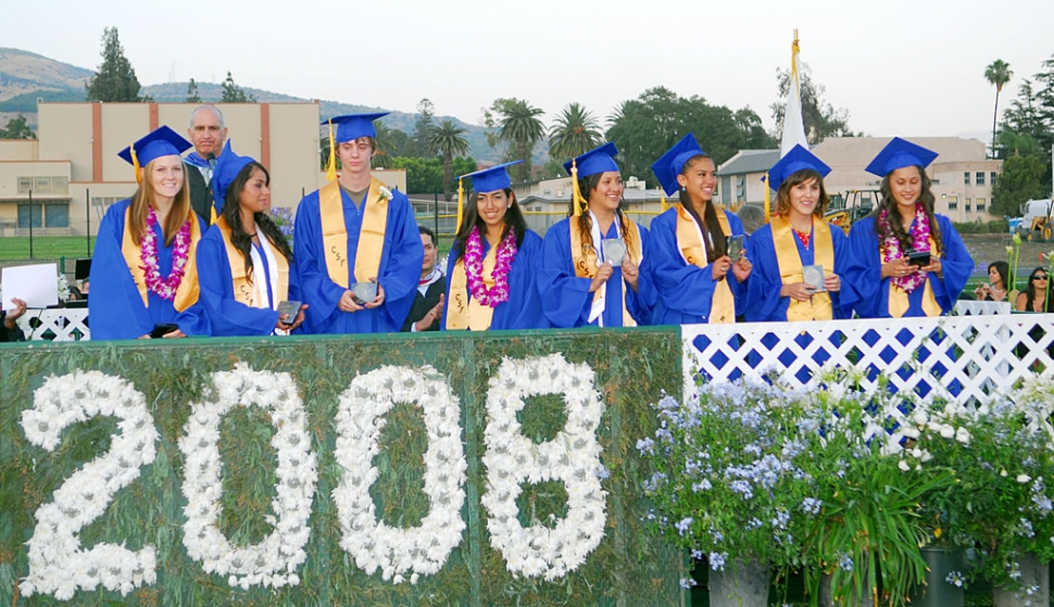 Pictured  above are the 2008 Valedictorians (l-r) Ashley Grande, Mariana Barajas, Shaun Stehly, Dora Servin, Laura Orozco, Christina Amezcua, and  Angelica Serna, Saludatorian  Kassaundra Sandoval.