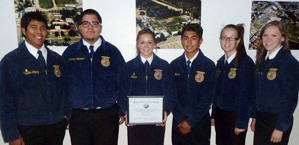 Representatives from the Future Farmers of America (FFA) were recognized for their accomplishments by the Fillmore Unified School District Board.