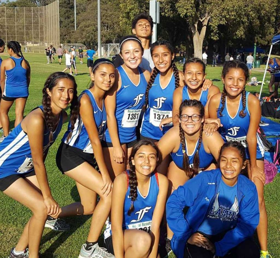 Pictured some of the Fillmore Flashes JV Girls Cross Country team before their race at El Camino Real Park in Ventura.
