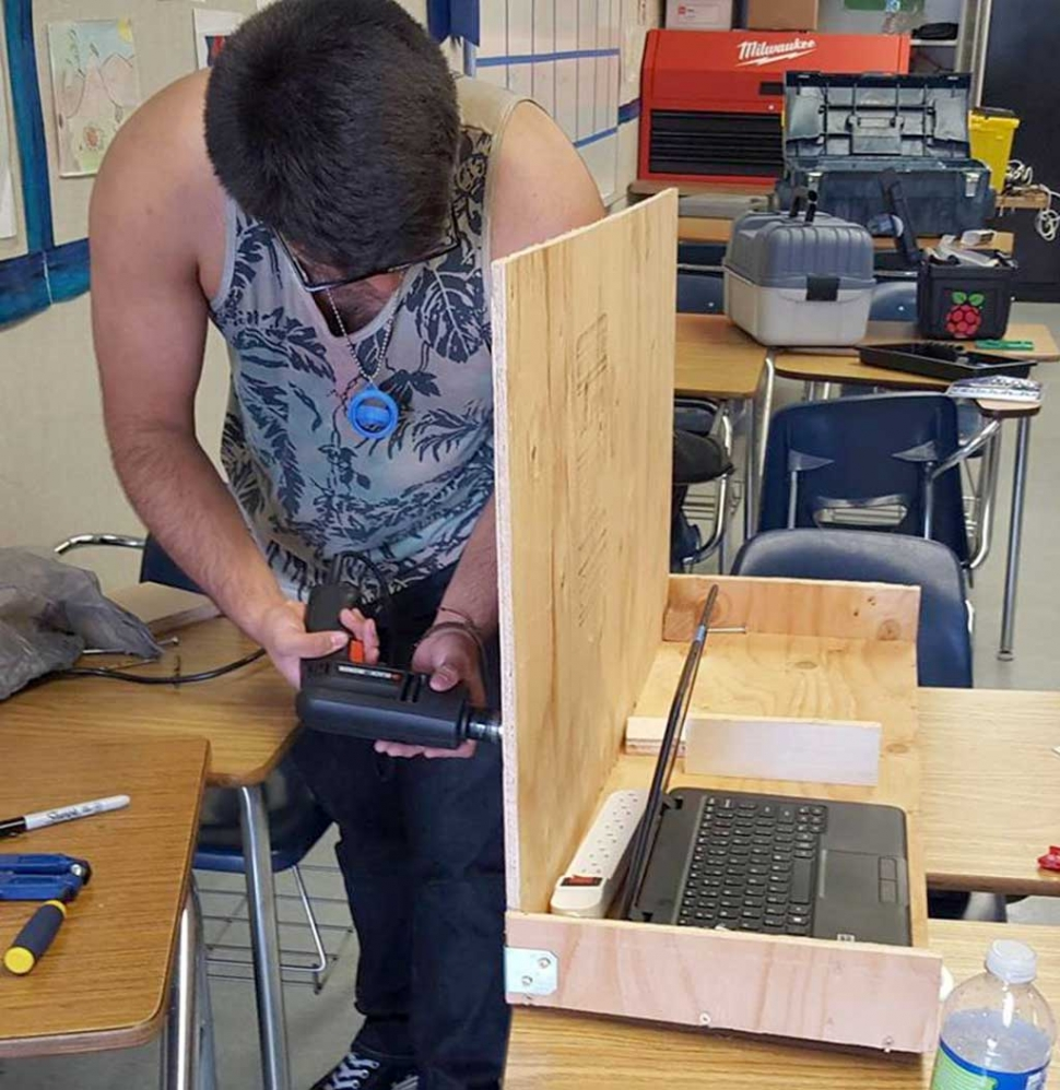 (above) One of about 13 FHS Students who met this past Saturday to start working on their new robot for the next competition. In the Fall of 2017 FHS will enter into the VEX Bakersfield Robotics League. Once a month they will send a team up there to compete. In 2018 FHS Robotics Team will enter the First Robotics Ventura Regional Competition again. They will also hope to host some scrimmages during the winter with county teams. The word is that quite a few of our local businesses are offering financial support. The team has also applied for grants.
