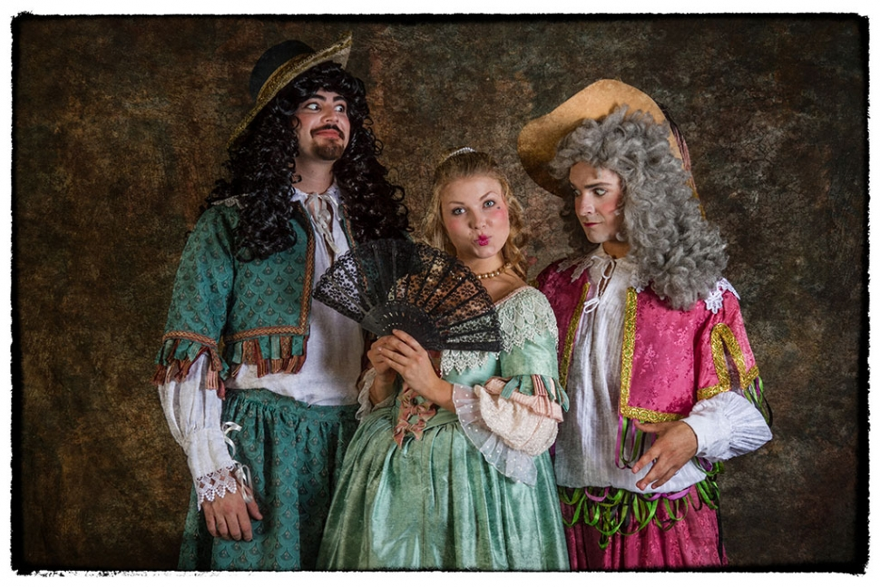 (l-r) The leads include John Marino as Sir Lodwick Knowell, Maryann Good as Isabella Fancy and Kevin Repich as Sir Credulous Easy. Credit: Brian Stethem