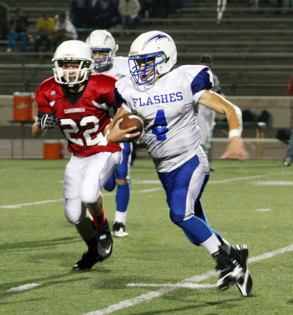 Jacob Hernandez #4 gains a couple of yards against Bishop Diego last Friday night.