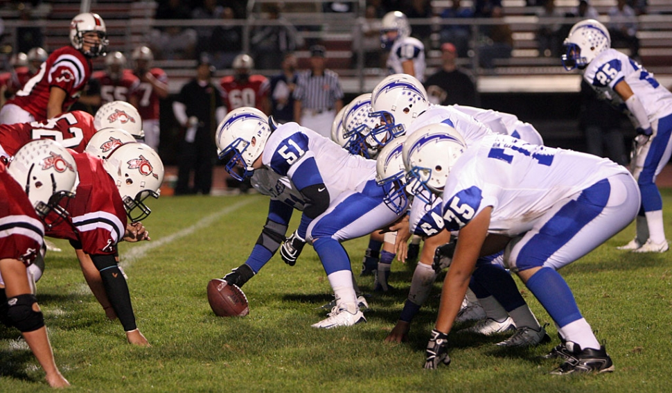 Center #51 Carson Lhotka and the offensive line had a great game last Friday against Carpinteria. Fillmore trampled the Warriors 40-14.
