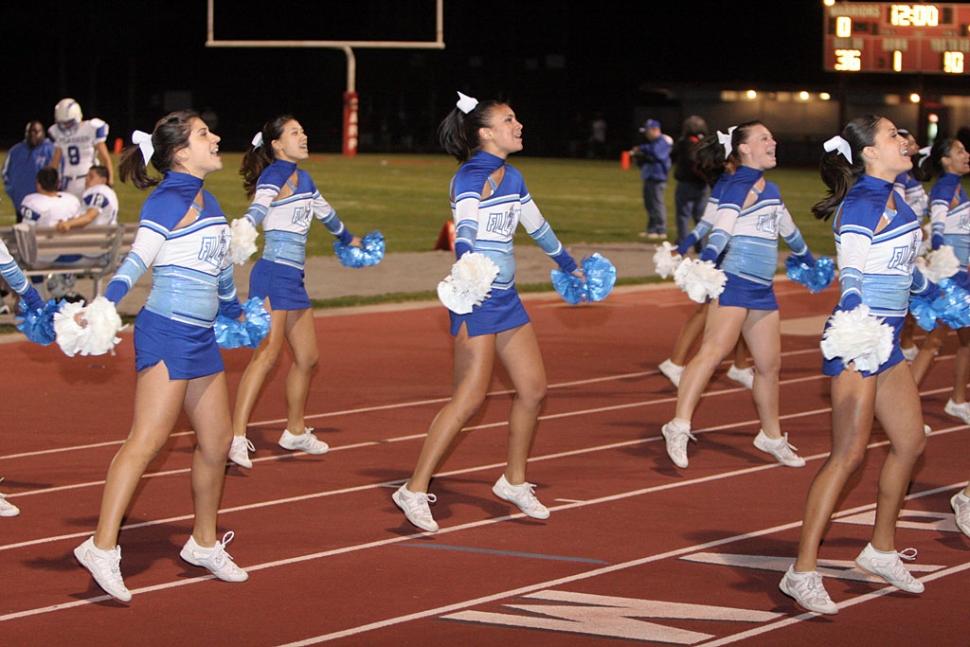 F.H.S. Varsity cheerleaders kept the crowd busy during the game against Carpinteria.