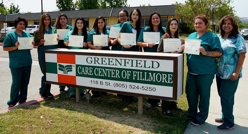 Greenfield Care Center in Fillmore has graduated their first 2017 CNA class. The next class will start the second week of August. To register please go to Greenfield Care Center at 118 B St in Fillmore to complete an application. The instructor, Beatrice Colin/LVN, will then schedule an interview. Pictured (l-r) Itzel Lopez, Shovita Herrera, Denise Martinez, Destiny Orozco, Janet Espinoza, Marcela Hernandez, Silvia Garcia, Adriana Mercado, Jessica Acevedo, Blanca Reynoso, Teacher: LVN Beatrice Colin. Photo courtesy of Ari Larson/Fillmore Chamber of Commerce.