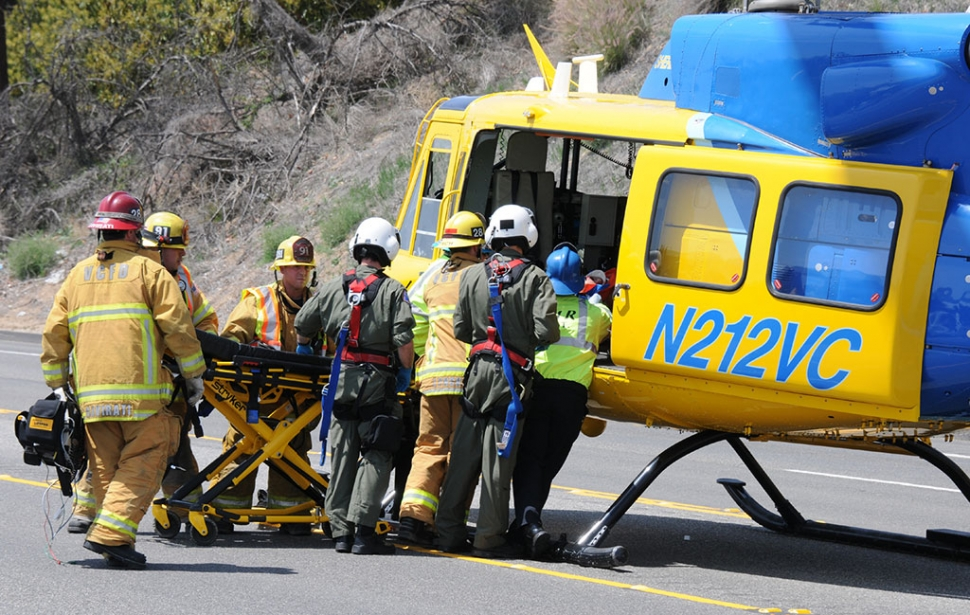 The California Highway Patrol, VC Sheriff's units, ambulance service and the Sheriff's helicopter responded to a hit and run accident Saturday. An unidentified female driving the impacted car was unresponsive and taken by helicopter to a local hospital. No information was available on a third vehicle involved after the car struck the back of a tractor-trailer.