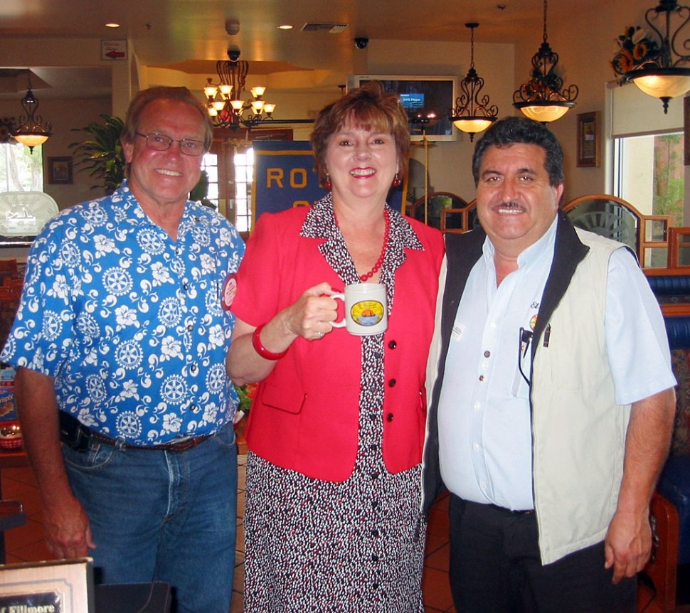 Supervisor Kathy Long was the guest speaker at the Fillmore Sunrisers Rotary Club last Tuesday. Left to right:  Ken Smedley, Sun Risers president; Supervisor Kathy Long; Chuy Ortiz, owner, El Pescador Restaurant.