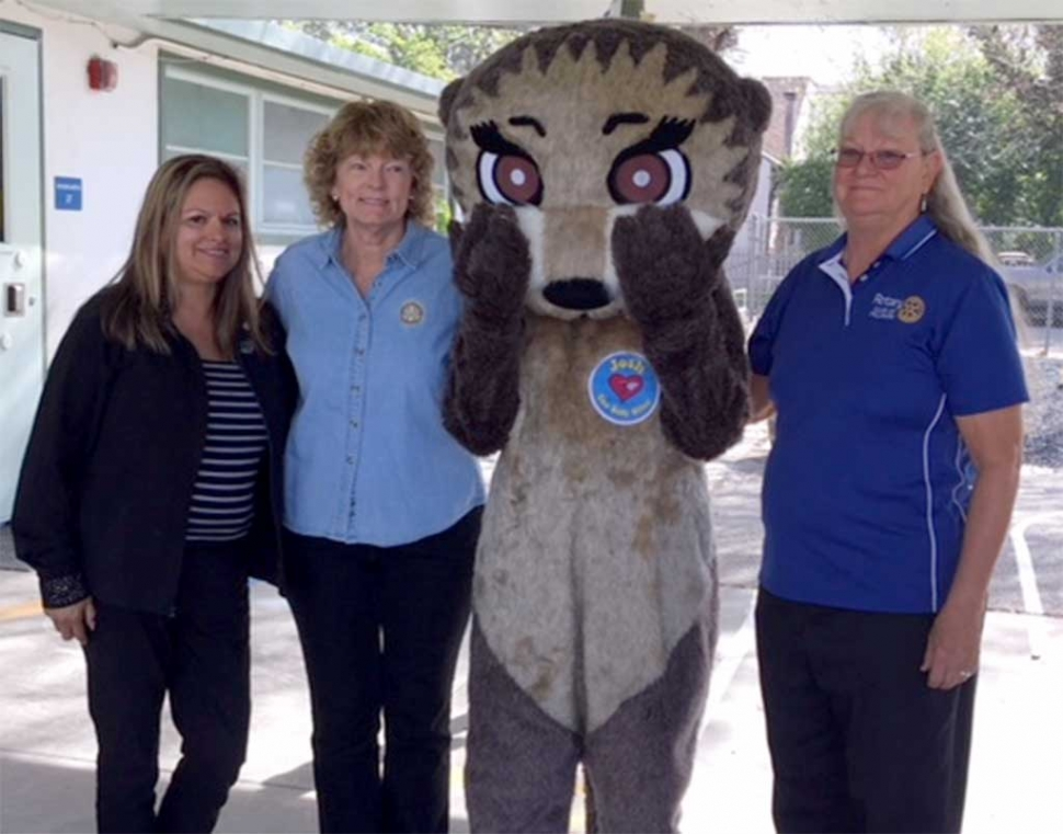 This past week Fillmore Rotary Club and Josh the Otter visited local Preschools to teach students about water safety. Pictured (l-r) Ari Larson, Martha Richardson, Josh, Cindy Blatt. Photo courtesy Martha Richardson.