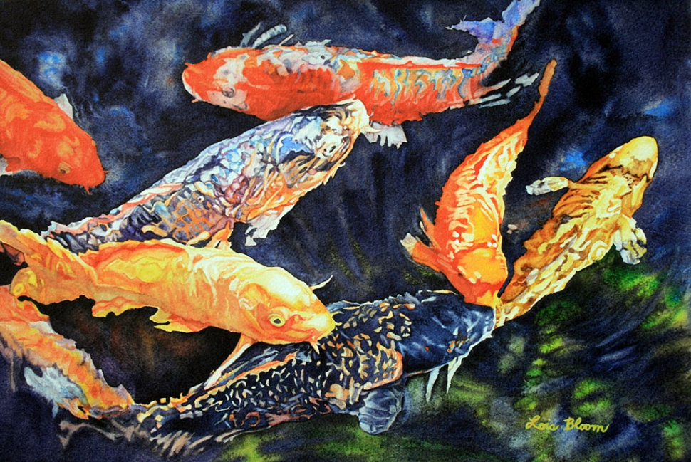 First friday ventura gallery crawl opening and happenings for Koi feeding