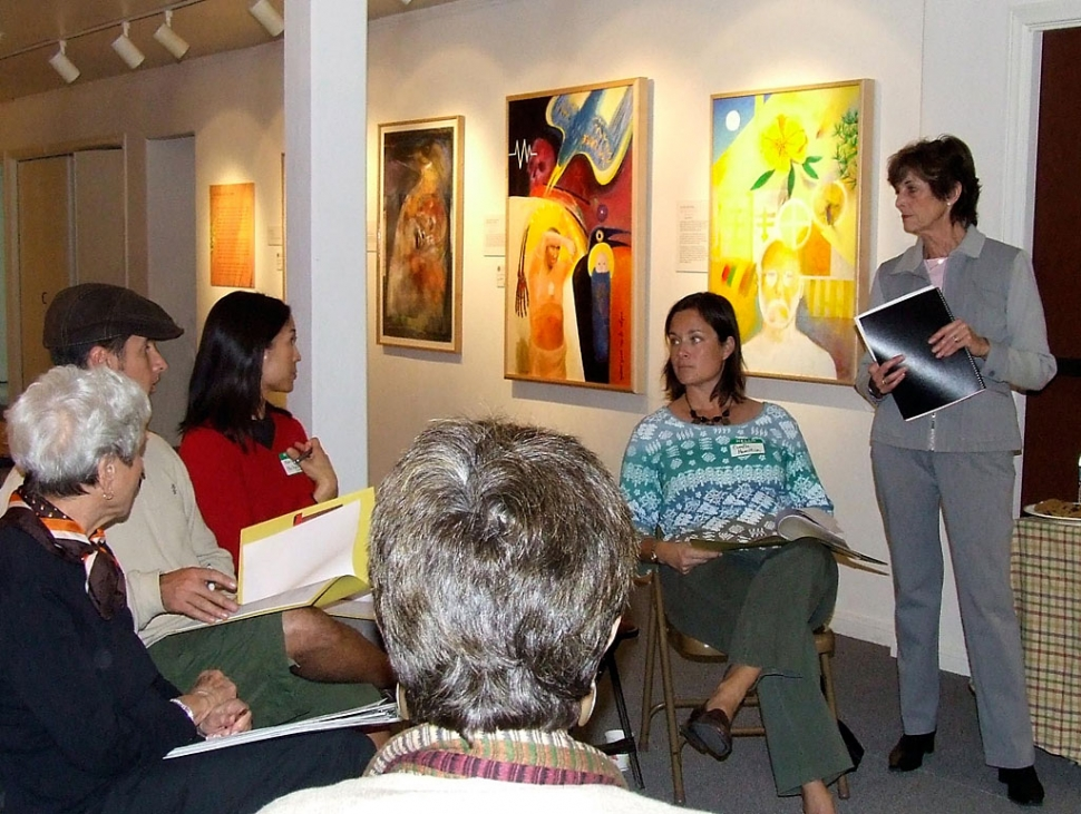 The Ojai Museum is currently running an exhibit on Native Californians called Sing Me A Story, Dance Me Home. In conjunction with this exhibit on Native Tribes the Museum will offer enrichment programs for local schools. Above: Ann Scanlin, President of Ojai Valley Museum Board of Trustees with Teacher group.