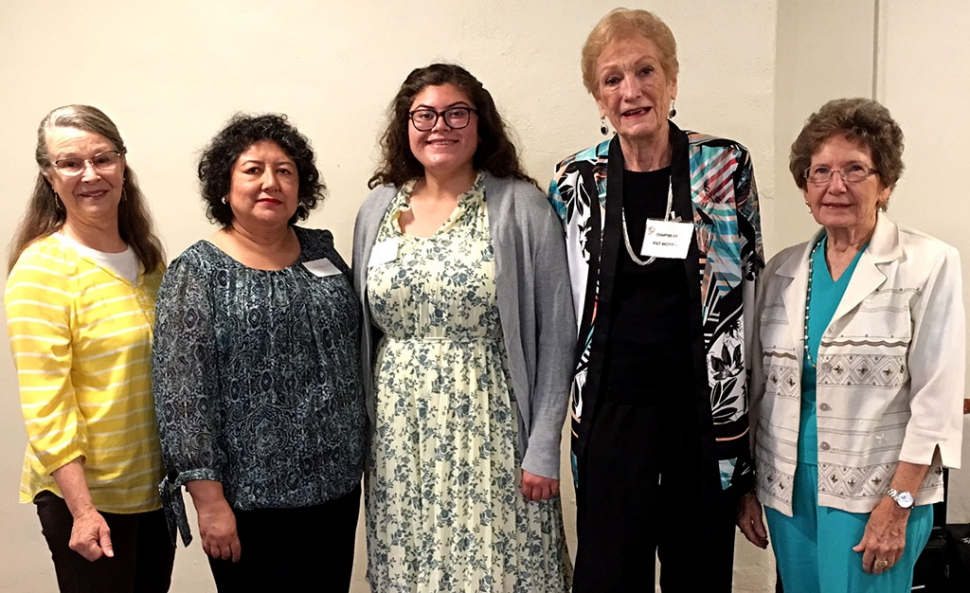 The PEO (Philanthropic Education Organization) Chapter GY presented this year's PEO Education Award to Fatima Bazurto. Fatima thanked the Club and shared her plans to attended college at UC Davis. Pictured (l-r) is PEO President Jan Lee PEO, Gloria Bazurto (Fatima's mother), Fatima, PEO Committee Chair Pat Morris PEO, and PEO Committee Member Mary Ford. Photo courtesy Martha Richardson.