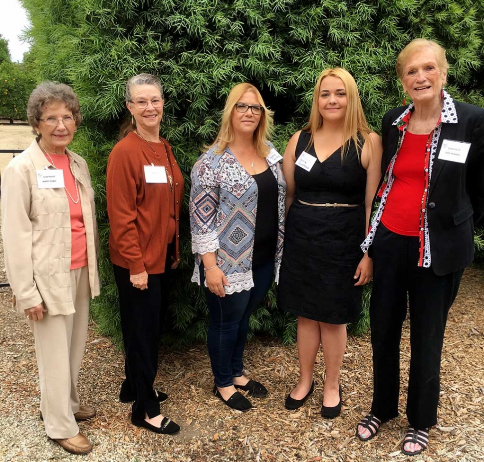 The Fillmore PEO Chapter presented Connie Quintana with the PEO (Philanthropic Education Organization) Education Award. Pictured l-r Mary Ford, Jan Lee, Danielle Quintana Mother, Connie Quintana, and Pat Morris. Photo Courtesy Martha Richardson.
