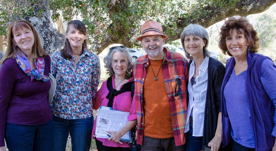 The Ojai Peace Pod by photographer David Baker. Pictured (l-r) Anahato Pomeroy, Kathy Nolan, Julie Heyman, Brian Berman, Lisa Berman and Dianne McCourtney