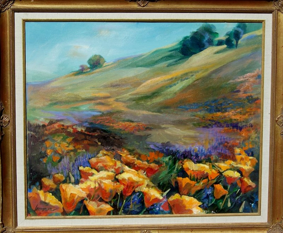 "Just one of the paintings in the exhibit, ""Poppies & Lupine"" by Pat Lemmon."